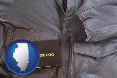 illinois an leather aviator jacket and pilot log book