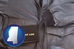mississippi an leather aviator jacket and pilot log book
