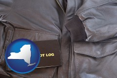 new-york an leather aviator jacket and pilot log book