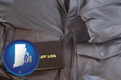 rhode-island an leather aviator jacket and pilot log book