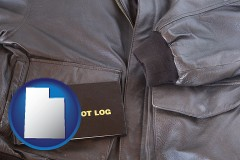 utah an leather aviator jacket and pilot log book