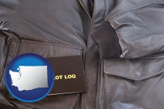 washington an leather aviator jacket and pilot log book