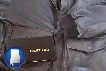 an leather aviator jacket and pilot log book - with Alabama icon