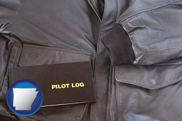 an leather aviator jacket and pilot log book - with Arkansas icon