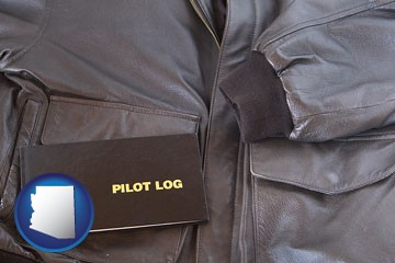 an leather aviator jacket and pilot log book - with Arizona icon