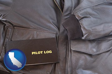 an leather aviator jacket and pilot log book - with California icon