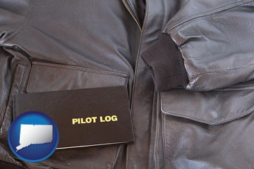 an leather aviator jacket and pilot log book - with Connecticut icon