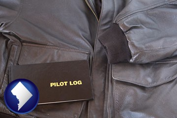 an leather aviator jacket and pilot log book - with Washington, DC icon