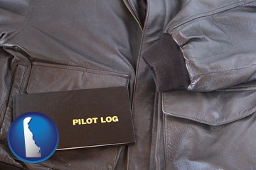 an leather aviator jacket and pilot log book - with Delaware icon