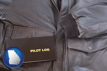 an leather aviator jacket and pilot log book - with Georgia icon