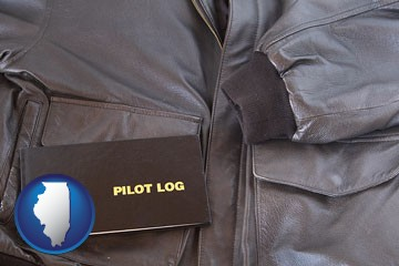an leather aviator jacket and pilot log book - with Illinois icon