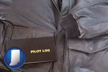 an leather aviator jacket and pilot log book - with Indiana icon