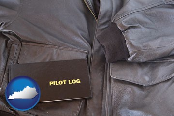 an leather aviator jacket and pilot log book - with Kentucky icon