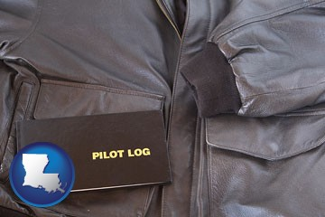 an leather aviator jacket and pilot log book - with Louisiana icon