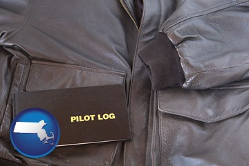 an leather aviator jacket and pilot log book - with Massachusetts icon
