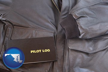 an leather aviator jacket and pilot log book - with Maryland icon