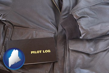an leather aviator jacket and pilot log book - with Maine icon