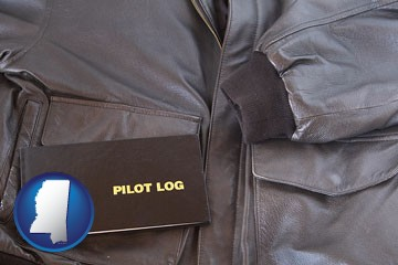 an leather aviator jacket and pilot log book - with Mississippi icon