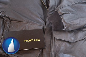 an leather aviator jacket and pilot log book - with New Hampshire icon