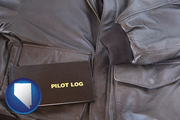 an leather aviator jacket and pilot log book - with Nevada icon