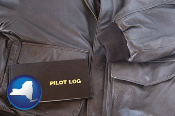 an leather aviator jacket and pilot log book - with New York icon