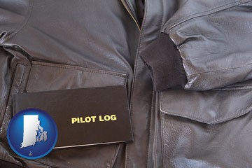 an leather aviator jacket and pilot log book - with Rhode Island icon
