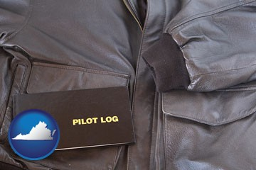an leather aviator jacket and pilot log book - with Virginia icon