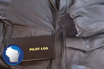 an leather aviator jacket and pilot log book - with Wisconsin icon