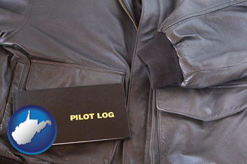 an leather aviator jacket and pilot log book - with West Virginia icon